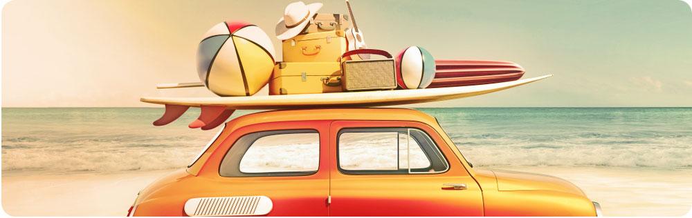 Met de auto op vakantie banner