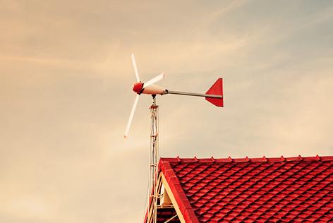 Kleine windmolen horizontaal