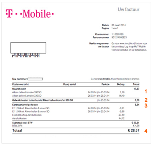T-Mobile factuur