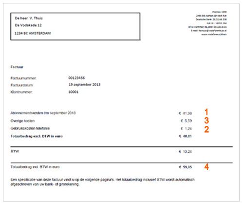 Uw eerste Vodafone rekening uitgelegd | UnitedConsumers